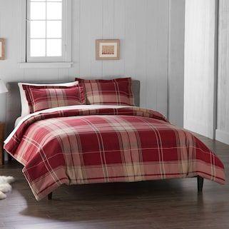 Cuddl Duds Red Plaid Flannel Duvet Cover Set Plaid Comforter