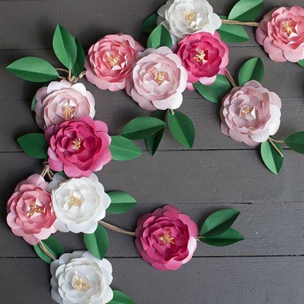 Camellia Diy Paper Flowers Paper Flower Garlands Paper Flowers Diy Paper Flowers