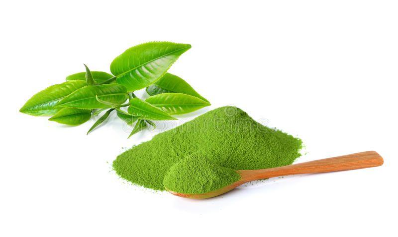 Photo of Powder Green Tea And Green Tea Leaf Stock Photo – Image of closeup, asian: 55460608
