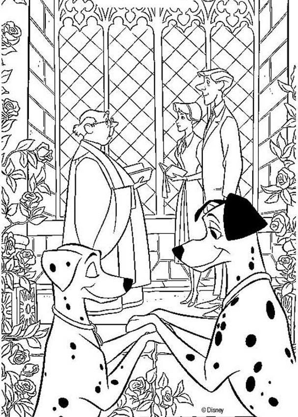 Color this adorable 101 dalmatians coloring page of Anita and Roger
