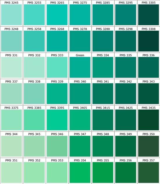 Toni Diversi Di Verde Tavolozze Dei Colori Schemi Di Colori Pantone