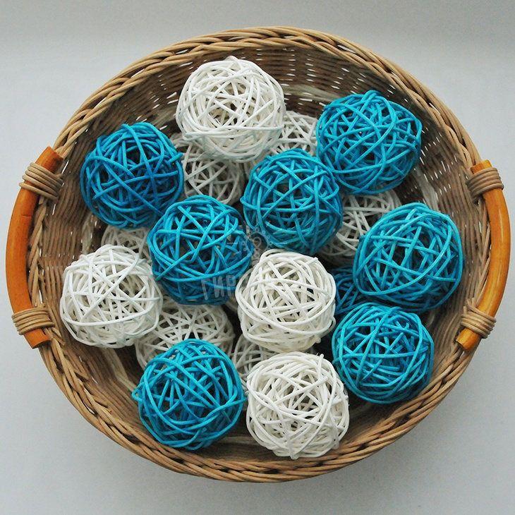 Home Decor Balls White&blue Color Rattan Balls String Lights Led Handmade Wedding