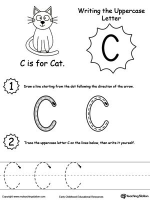 Writing Uppercase Letter C  Early Childhood Activities Printable