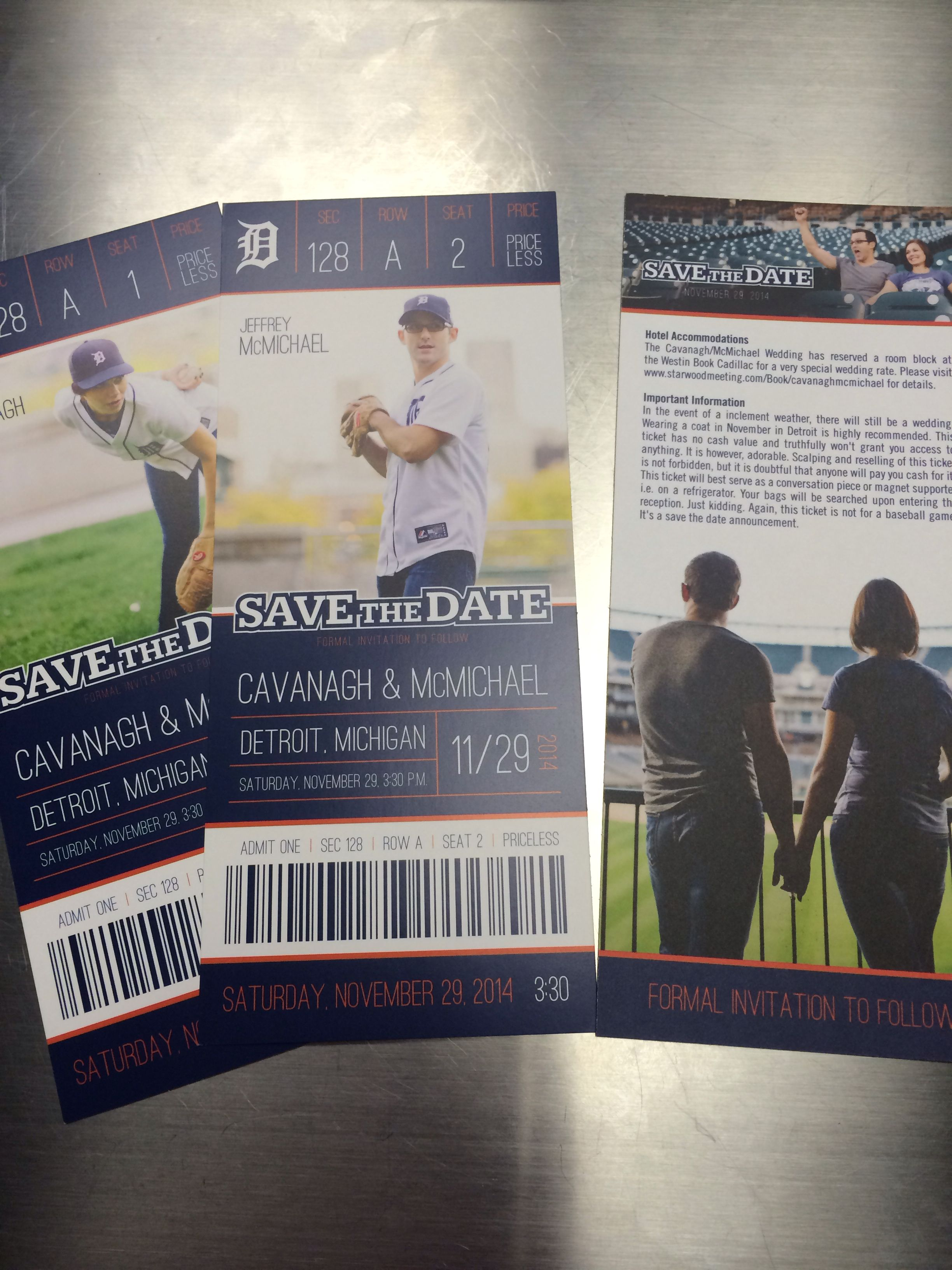 Wedding Save The Dates Tickets Detroit Tigers Baseball Inspired
