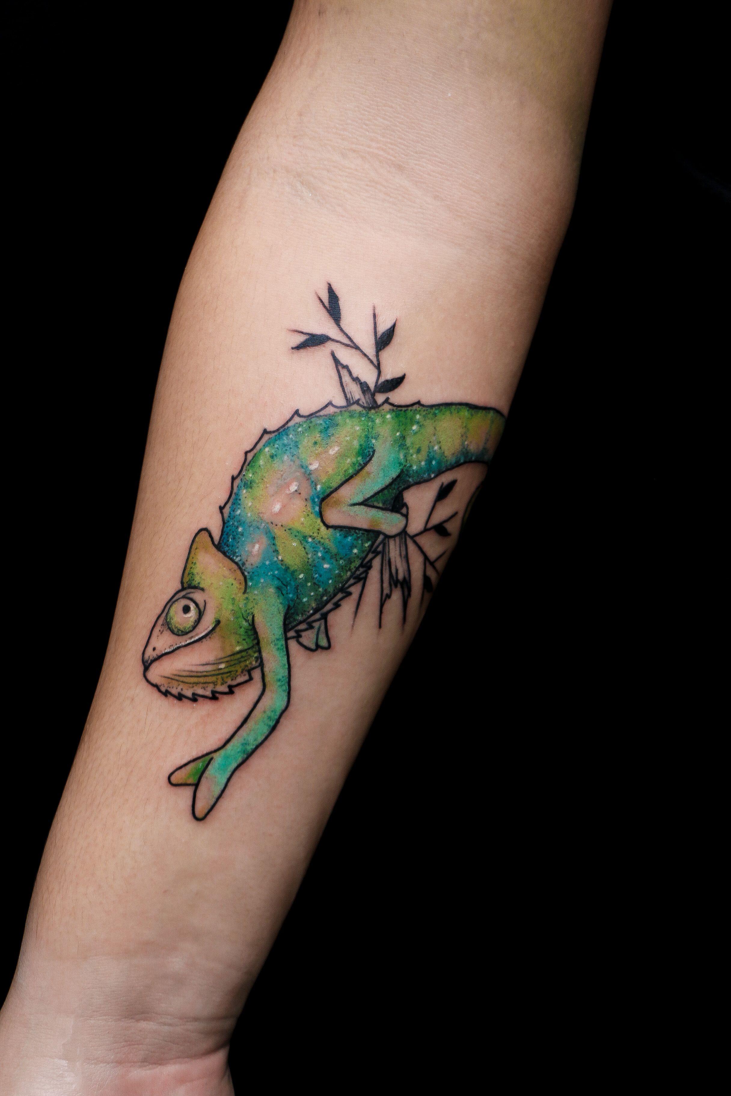 Chameleon Tattoo By Anzo Choi My Tattoo Work Tattoos Chameleon