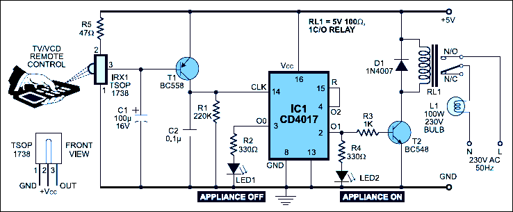 remote control for home appliance circuit diagram electronic rh pinterest co uk Electronic Hobby Circuits Schematics Power Amplifier Circuit Diagram