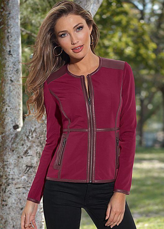 Women's Faux leather trim jacket