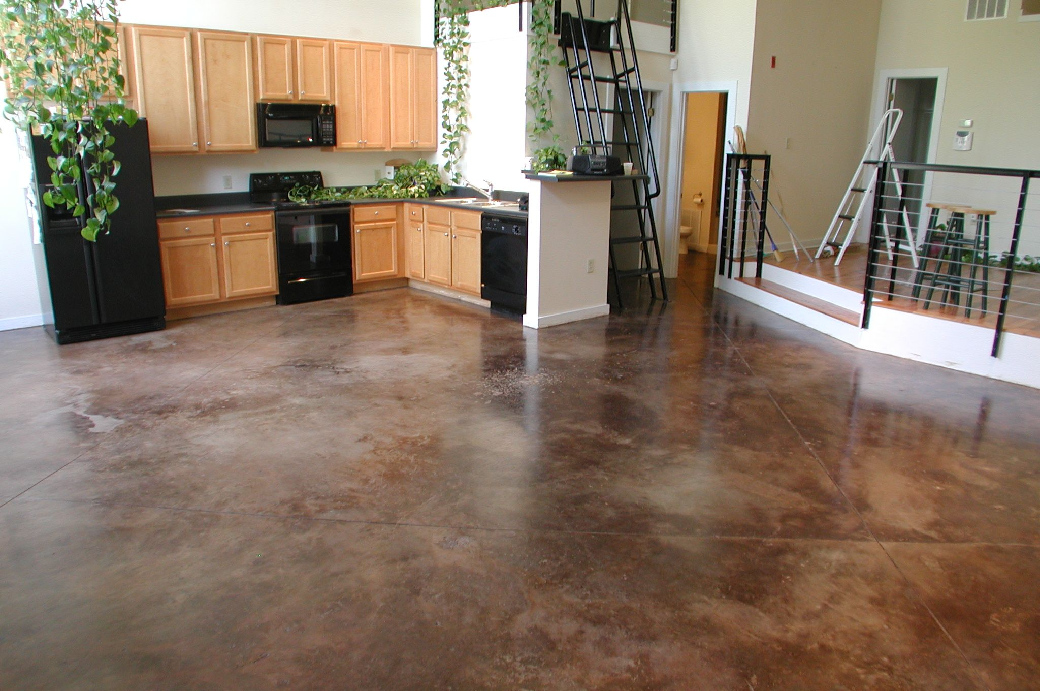 How to Stain an Interior Concrete Floor | Concrete floor, Concrete ...