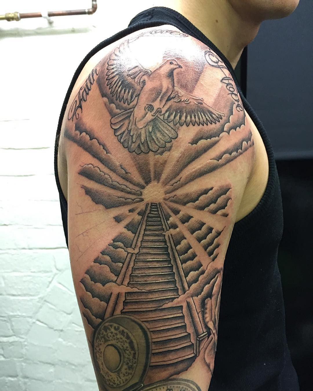 To heaven tattoo sleeve stairway to heaven tattoo venice for Stairway to heaven tattoo chest