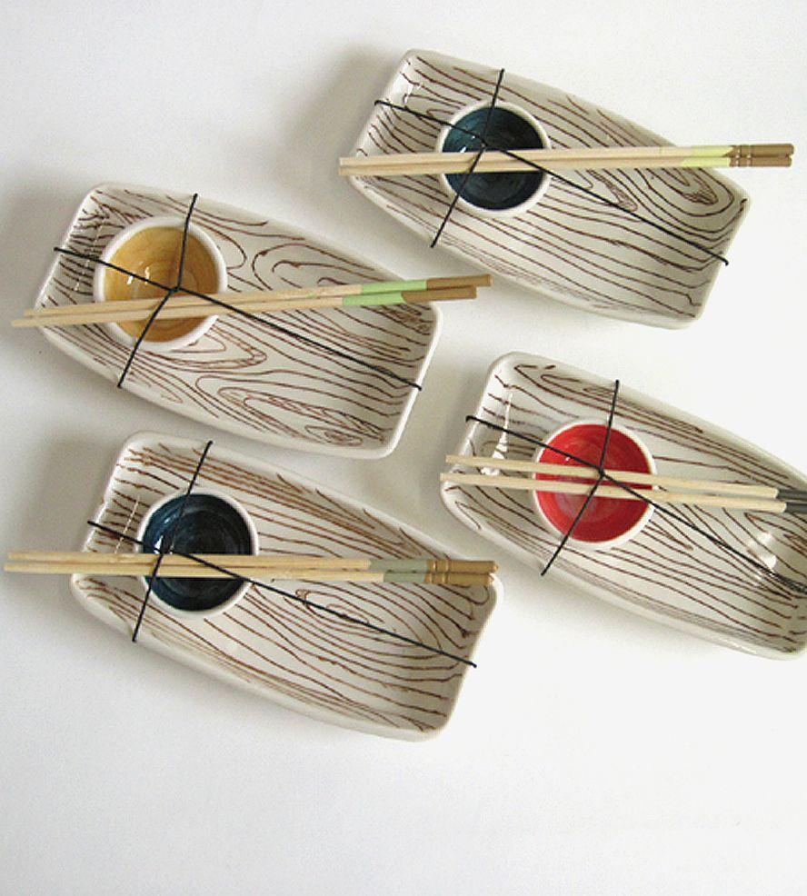 Sushi Hells Kitchen: Wood Grain Ceramic Sushi Set By Early Bird Designs