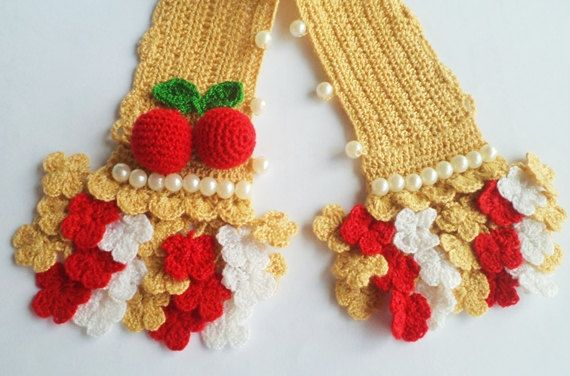 Crochet Handle Cover Lv Flower Pattern 3 Colors With Cherry For