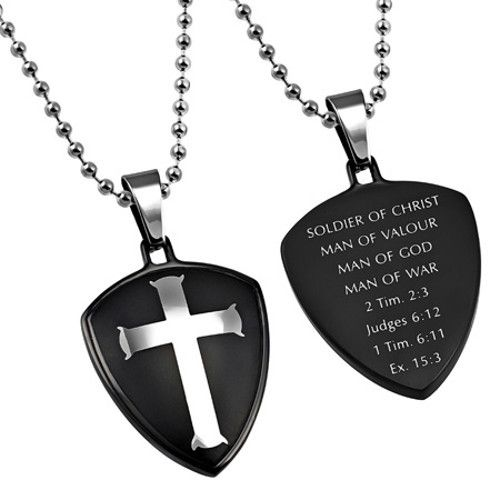 PSALM 23 THICK  IPG GOLD  NECKLACE  DOG TAG STAINLESS STEEL ROLO CHAIN