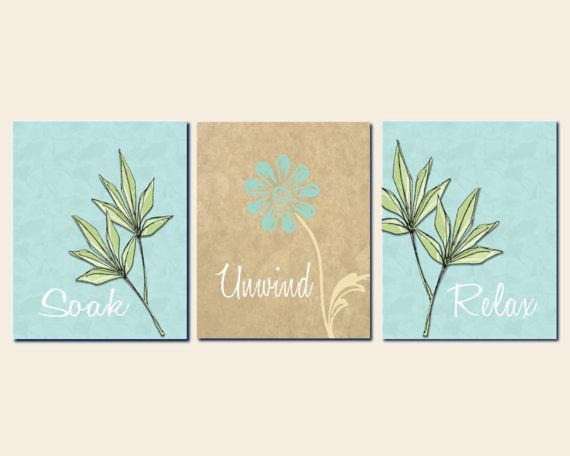 Bathroom Art, Spa, Typography, Wall Art, Calming Prints, Home Decor ...