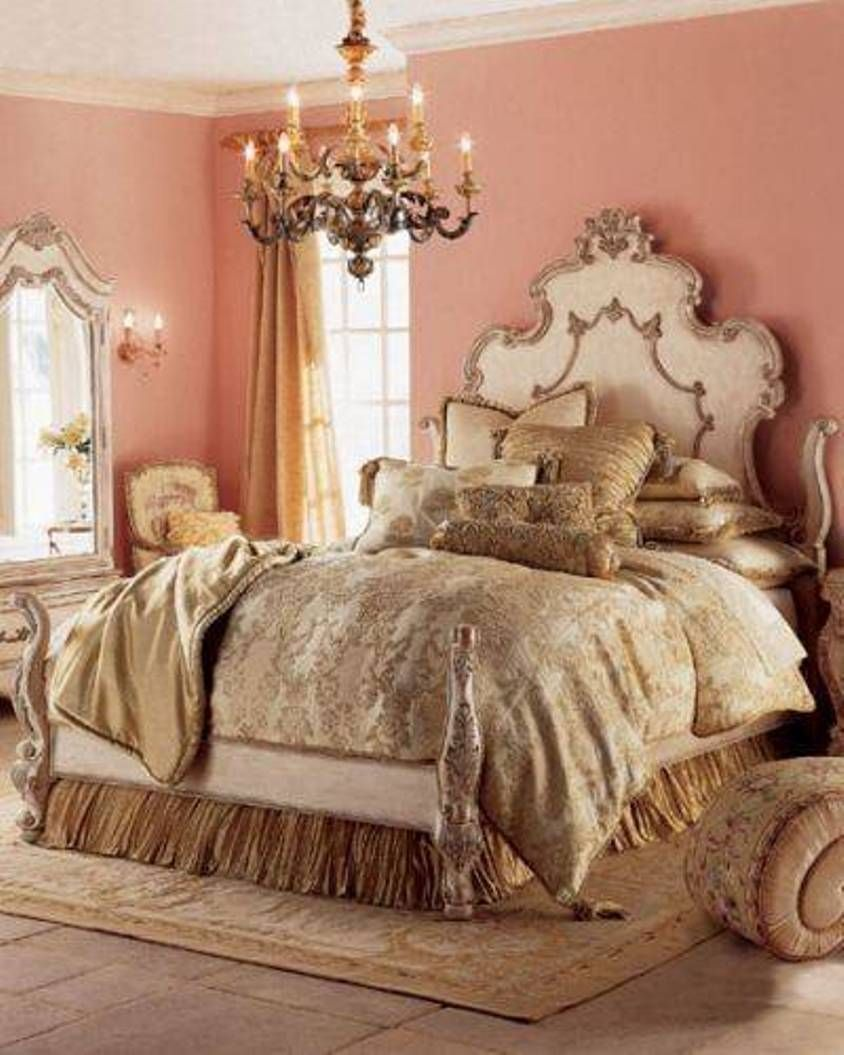 Bedroom , Romantic Bedroom Decor Ideas : Romantic Bedroom Decor With  Champagne Bedding And Chandlier And