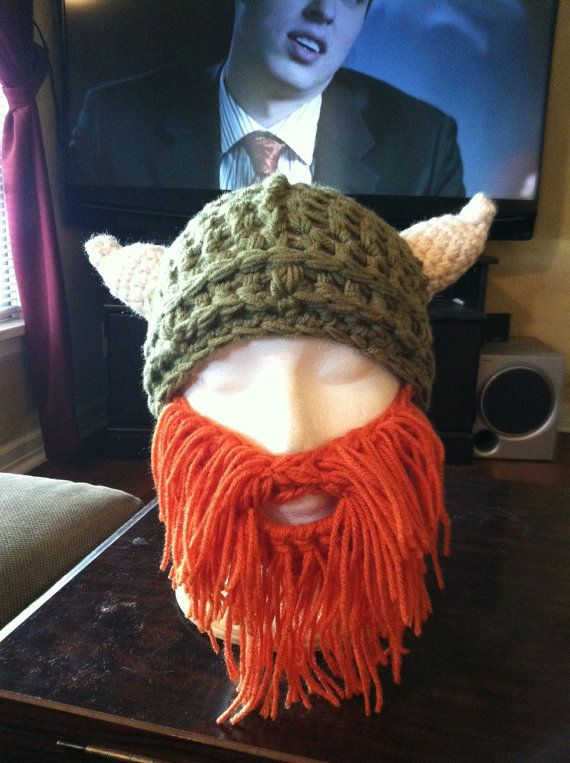 Viking Hat with Horns and Beard Hand Crocheted