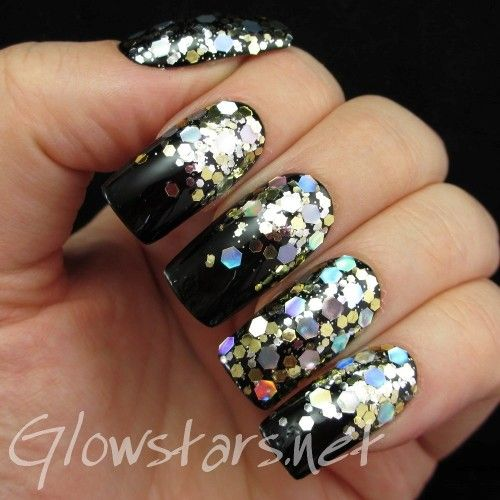 What would you hide from such a glow: A manicure using a Black Franken, No 7 Gold Glitter Topcoat and No 7 Silver Glitter Topcoat