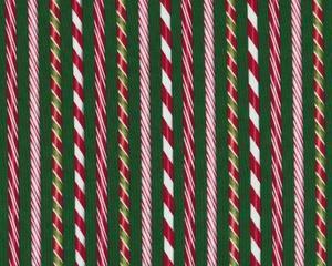 Patchworkstoff HOLLY JOLLY CHRISTMAS mit endlosen Zuckerstangen, rot-weiß-moosgrün
