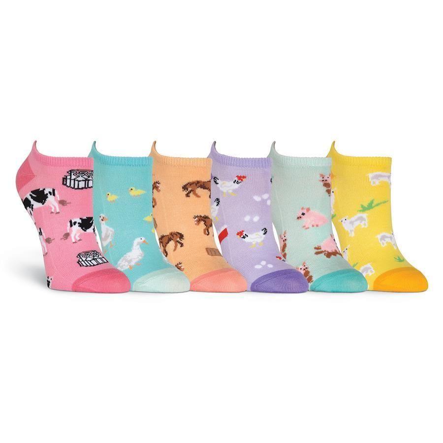 Farm Animals K Bell No Show Socks 6-Pr Pkg New Women Size