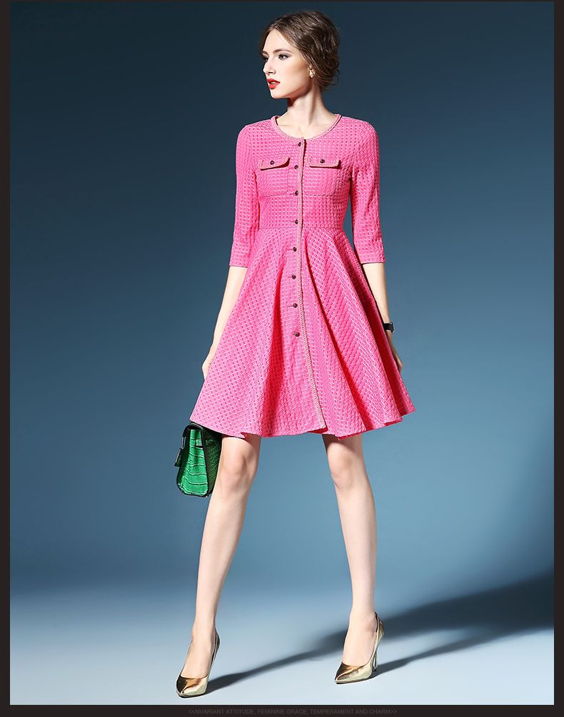 Hot pink color dress  Plated solid color fashion women dress DressEvermove Fashion on