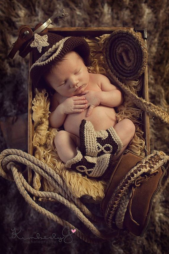 Baby Cowboy Hat And Boots Chocolate Brown Tan Newborn Beyond