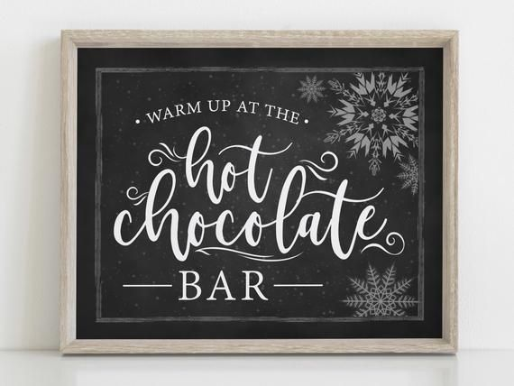 Hot Chocolate Bar Sign, Warm up at the hot chocolate bar, Winter Wedding, Chalkboard, Christmas Party, Instant Download, Hot Cocoa Bar #hotchocolatebar