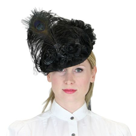 5ce7c0cc9 Vintage Ladies Black Straw,Lace Small French Hat | Romantic | Old Fashioned  | Traditional | Classic || Victorian Ladies Hat - Black