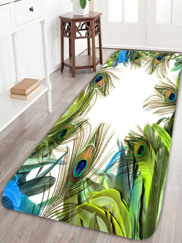 Pea Feather Pattern Bathroom Rug