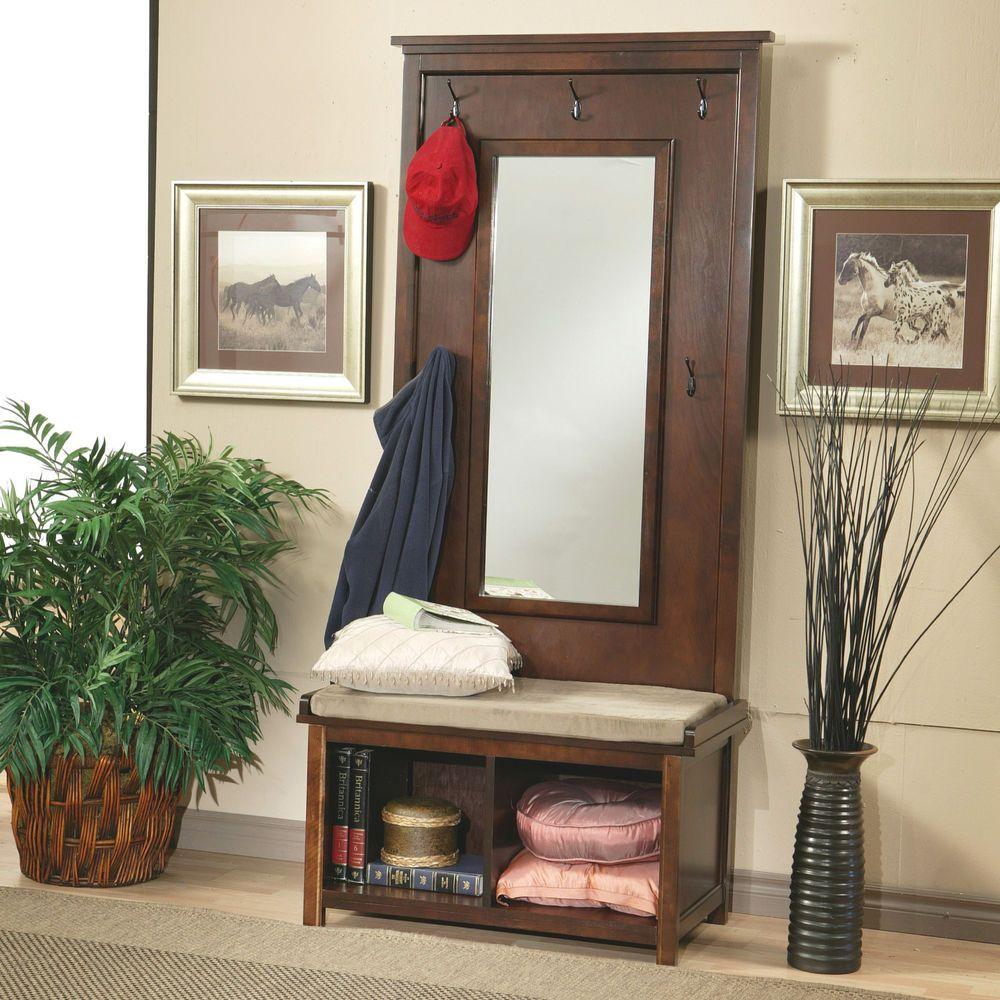 Hall Tree Entryway Mirror Coat Rack Stand Furniture Storage Bench Seat Wood Hook Halltreesus