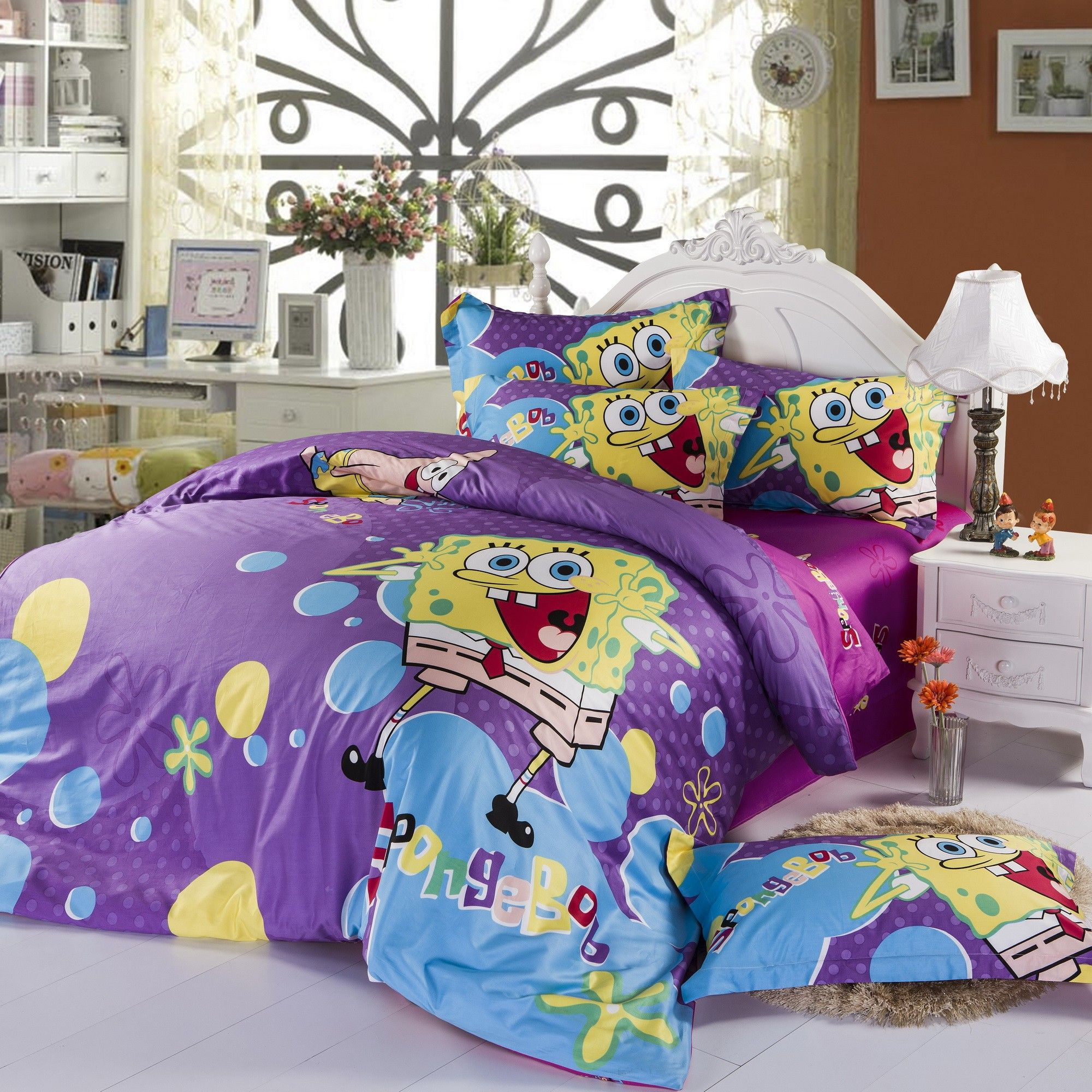 Purple Spongebob Queen Size Cover Bedding Much In Demand By The Girls