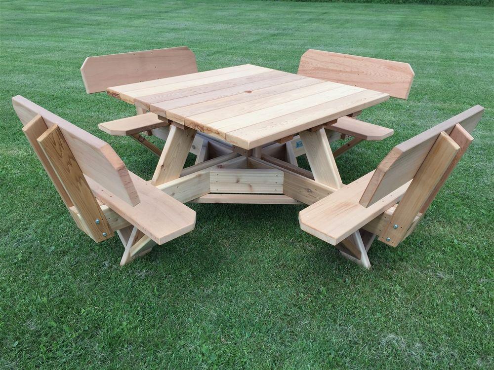 Square Patio Table With Umbrella Hole 45 Picnic Table With Easy Seating Octagon Picnic Table Wooden Picnic Tables Diy Picnic Table