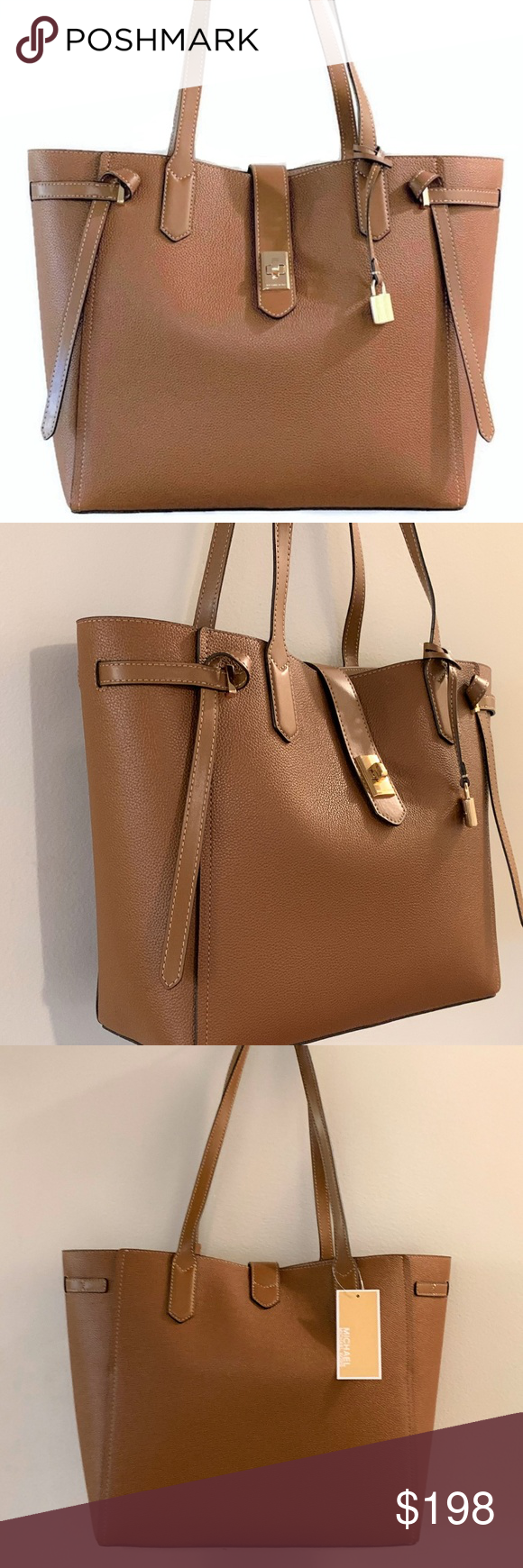 3a9c65727270 Michael Kors Cassie Large Leather Tote~ Brown NWT Michael Kors Large Cassie  Tote - Luggage