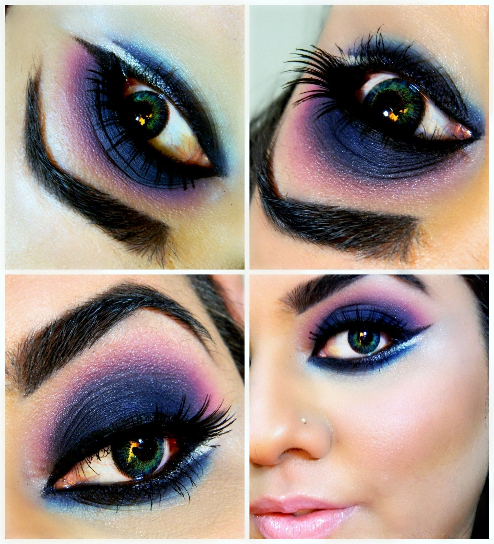 Idea for royal blue & pink eye makeup look, pared with cloudy pink lips.