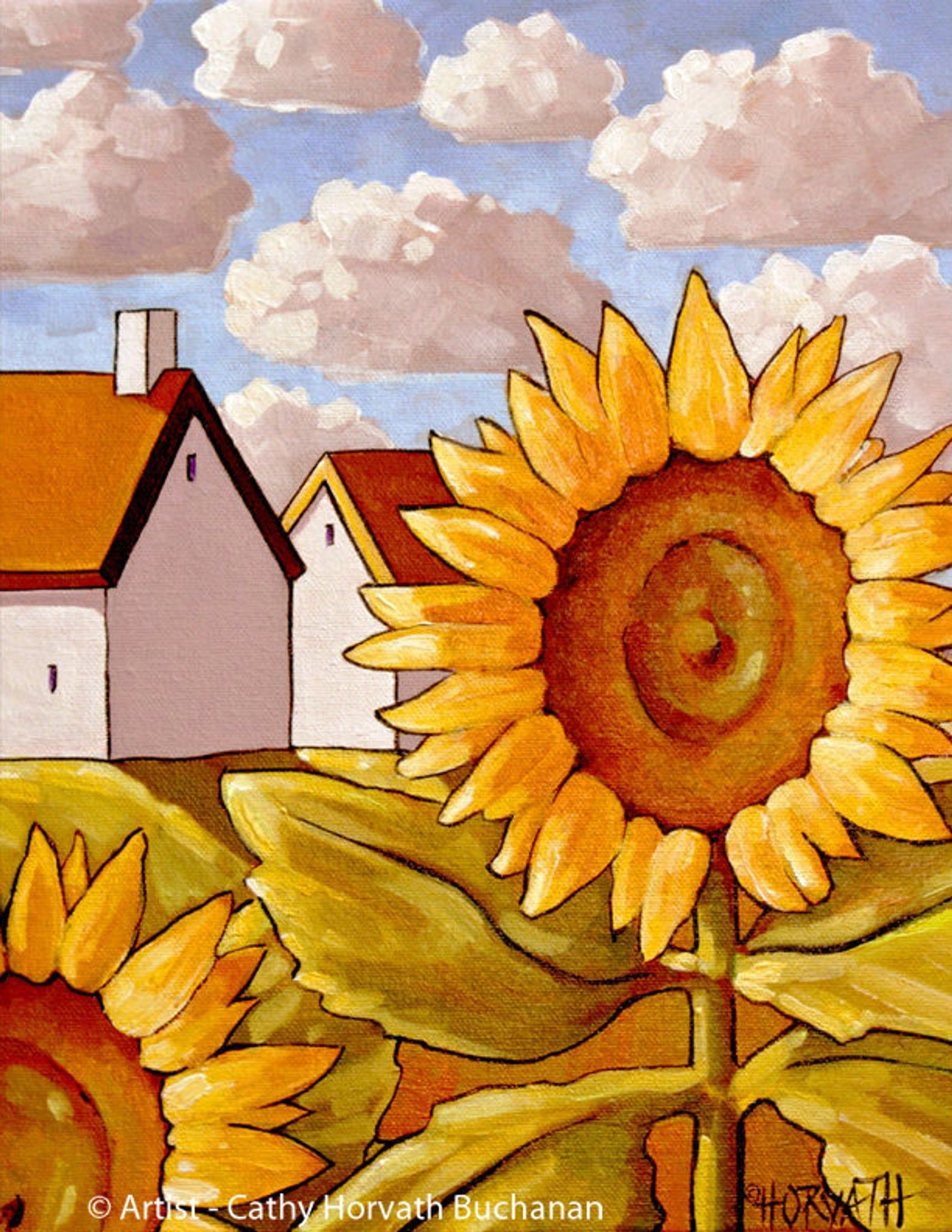Sunflower View 5x7 Print Yellow Flowers Cottage Garden Summer Landscape Folk Art Print Home Decor Gift Floral Giclee By Cathy Horvath Country Art Art Art Prints