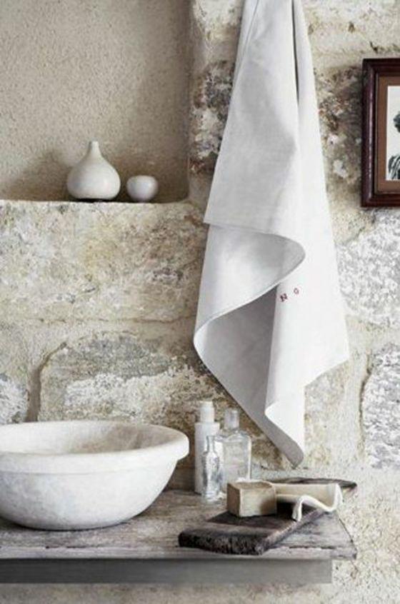 badezimmer rustikal einrichten steinwand Erdgeschoss Pinterest - badezimmer steinwand