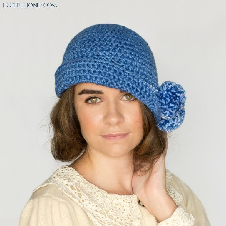 1920s Pompom Cloche Hat Free Crochet Pattern Via Crochetrendy