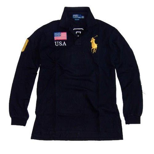 Ralph Lauren USA Big Pony Long-Sleeved Polo Shirt (Black)