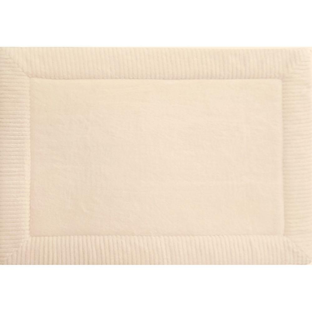 Spa Retreat Border Ivory 21 In X 34 In Memory Foam Bath Mat