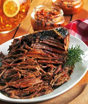 Hickory Smoked Brisket - A Hickory Smoked Brisket (featured in The Crockin' Girls Slow Cookin' Companion) and Nicole's delicious Cabbage & Tomatoes to pair with it! Get ready for some good eatin' y'all!
