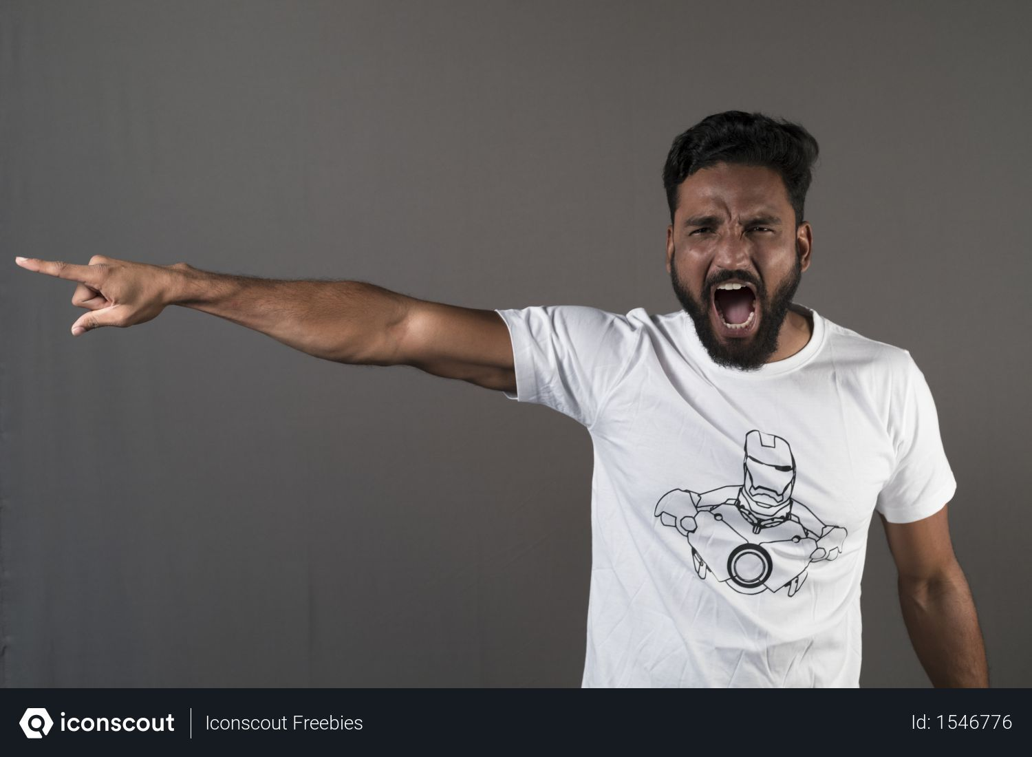 Free Angry Man Shouting And Pointing In Left With Grey Background Photo Download In Png Jpg Format Gray Background Photo Man