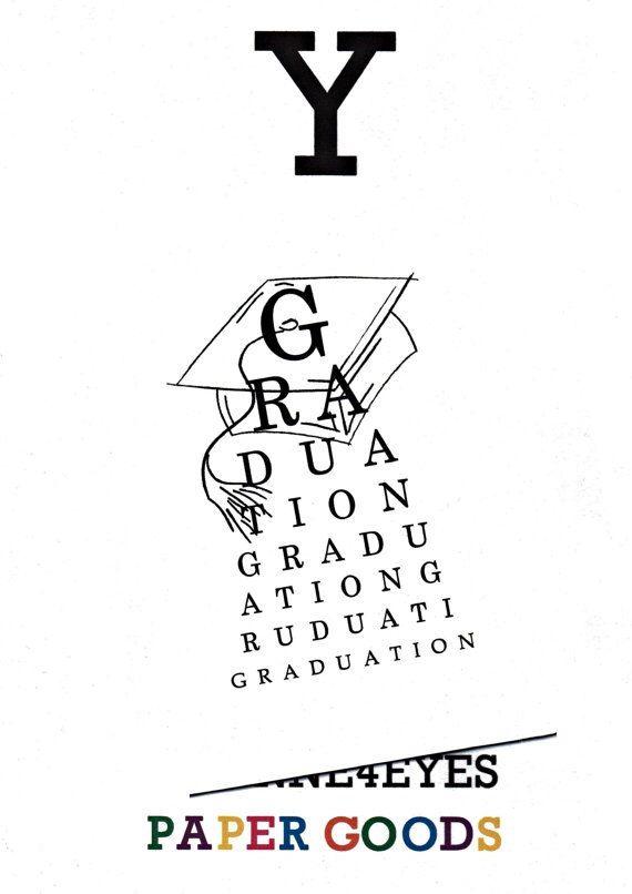 graduation eye chart card paper goods eye chart eye exam