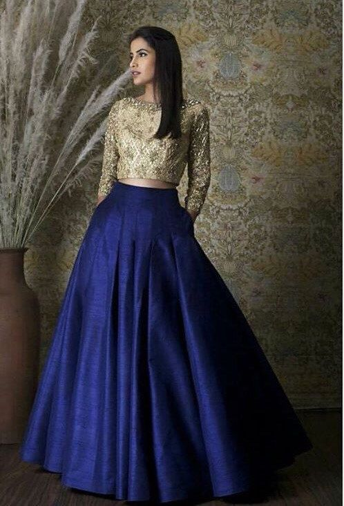 Royal Blue Pleated Skirt Full Length with Embriodered Peach Choli ...