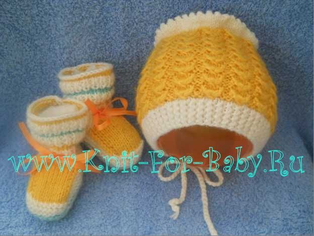 Вязание пинеток и шапочек для новорожденных спицами