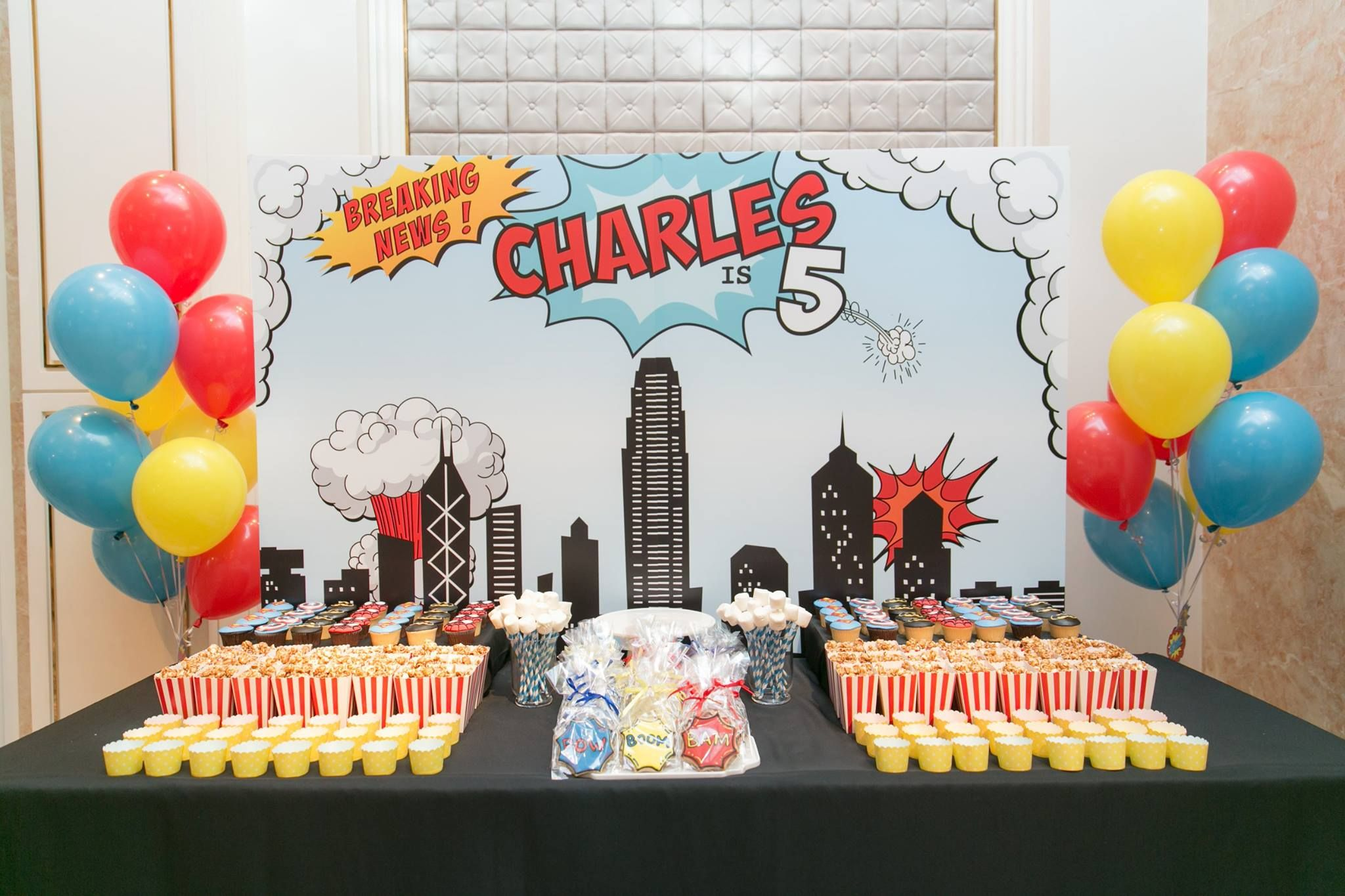 Candy table at Childrens Superhero themed birthday party Sweet