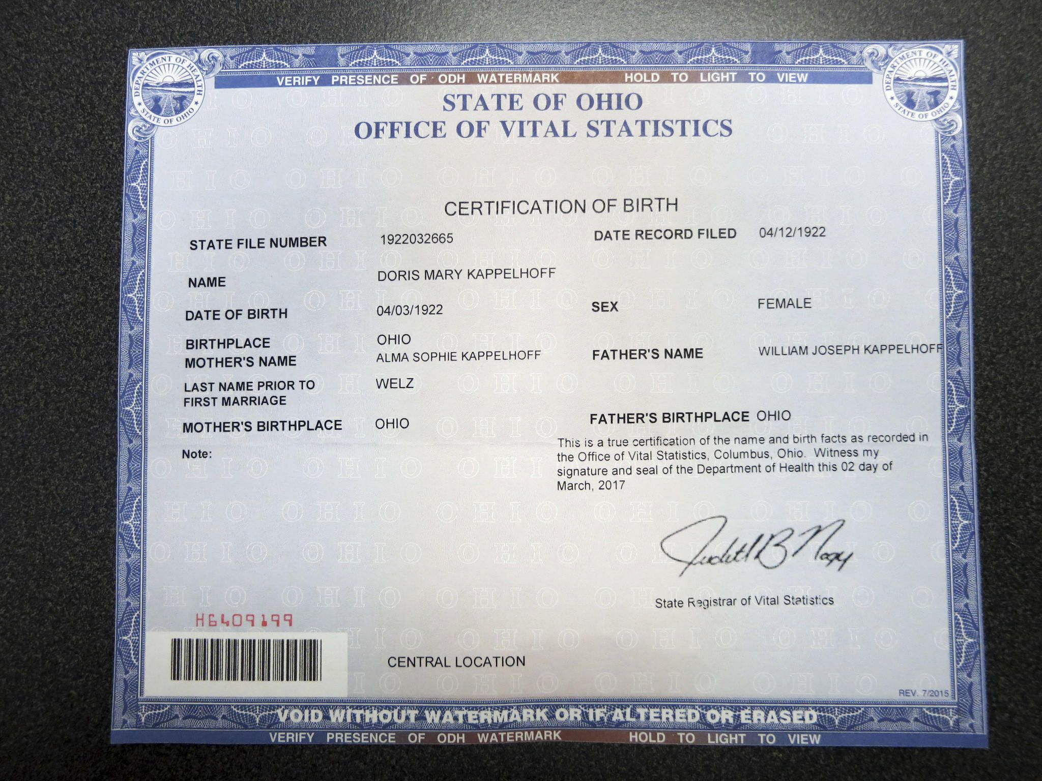 Doris days birth certificate state of ohio office of vital doris days birth certificate state of ohio office of vital statistics via associated press aiddatafo Images