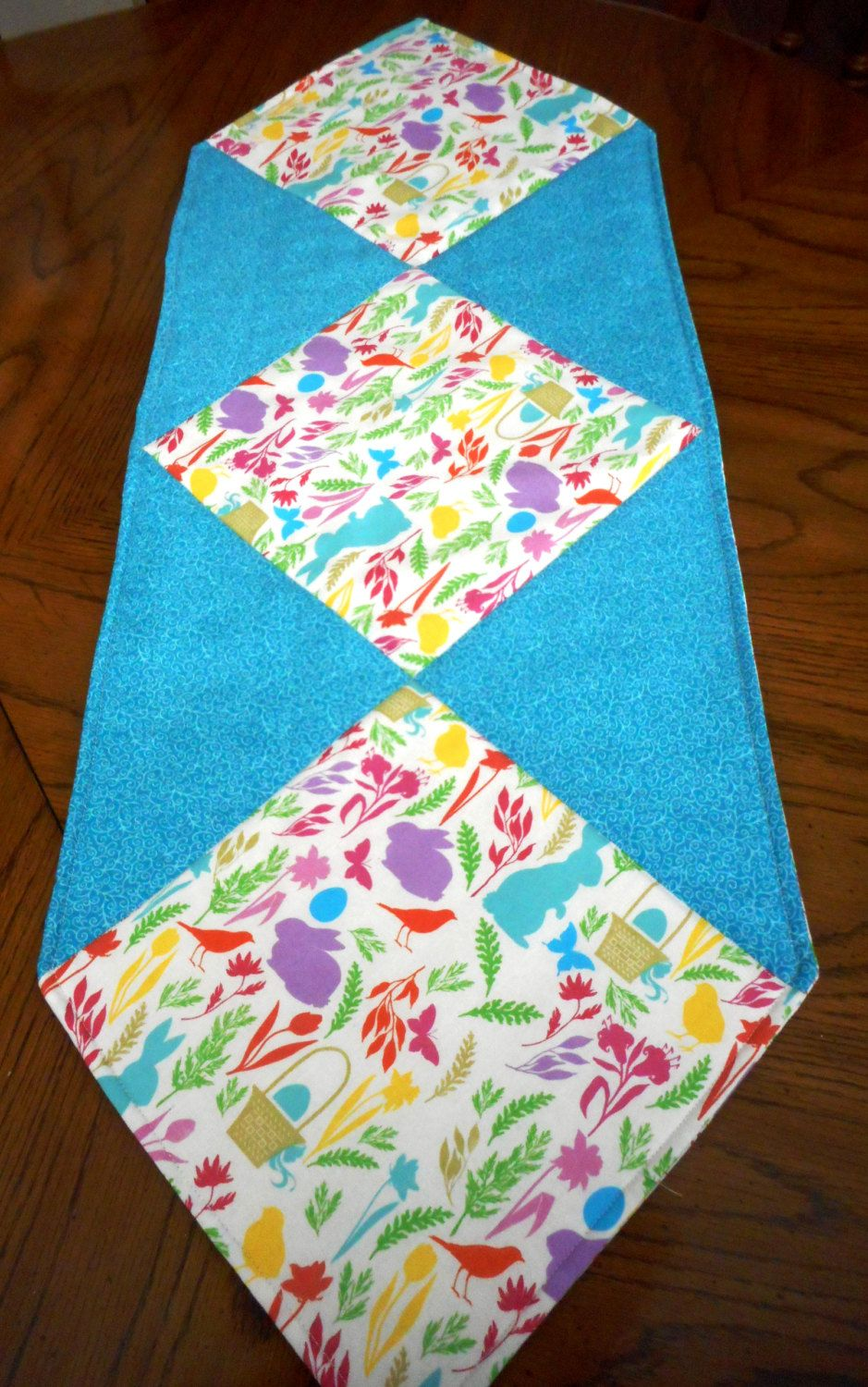 Quilted modern Easter Table Runner by ShirleyCQuilts on Etsy