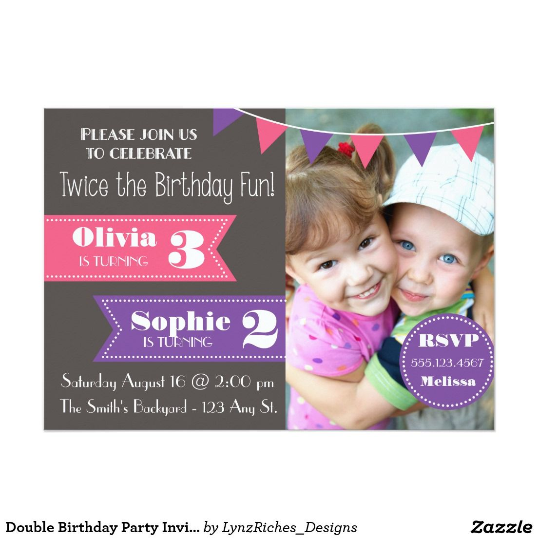 Joint Birthday Party Invitation Boy Girl Girl Girl Boy Boy - Birthday invitation messages for 5 year old boy