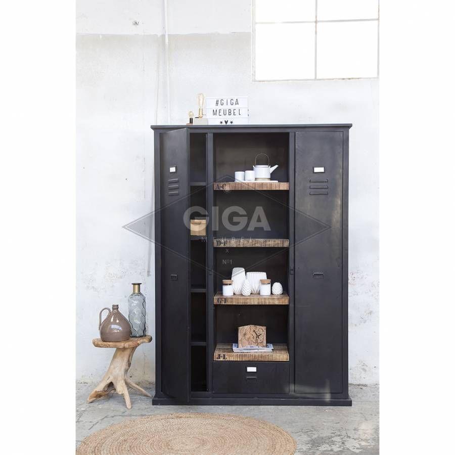 Industriële Boekenkast Groot Zwart   Badezimmer