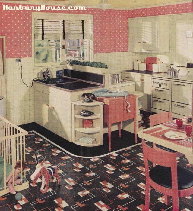armstrongpinkbabykitchen 1 Retro Kitchen Images From The 1940s and on painted kitchen cabinet ideas, vintage kitchen ideas, small cottage kitchen ideas, cabinet small kitchen remodel ideas, small shabby chic kitchen ideas, 1940s kitchen remodel ideas, red white and blue kitchen ideas,