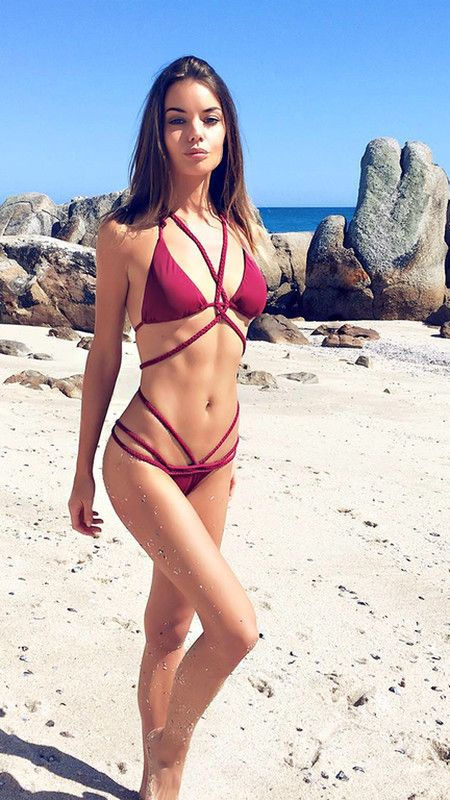 acfb2ce03ba35 Floralkini Red Braided Strap Criss Cross Bikini Set