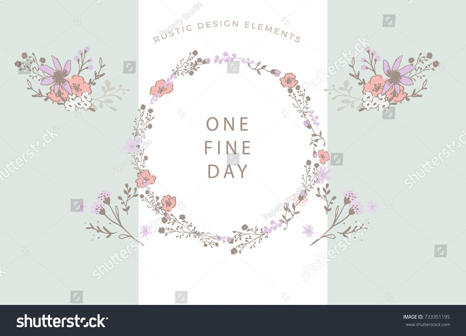 Violet And Brown Floral Elements Vector Poster With Rustic